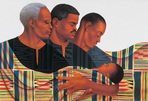 Peinture de l'artiste afro-américain Keith Mallett représentant quatre membres d'une famille afro-américaine bercés par un tissu kente