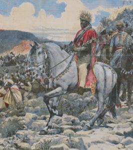 Menelik lors de la bataille d'Adwa, tel que représenté sur  un journal français de l'époque