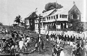 La capitale du Libéria, Monrovia, au 19ème siècle, alors dirigée et influencée culturellement par les Américano-Libériens