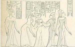 Beneretmut, soeur de Nefertiti à gauche derrière trois filles de Nefertiti et leurs deux nourrices ; reproduction d'une scène de la tombe de Parennefer par Lepsius