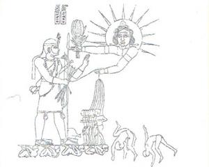 Reproduction d'un relief rupestre repésentant le prince Shotrkakor et d'une divinité solaire, peut-être Mash (© Nathalie Couton-Perche)