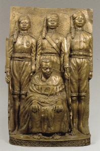 Plaque moderne représentant Ovonramwen et des membres de sa suite en exil