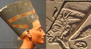 Portrait de la reine égyptienne Nefertiti selon l'art égyptien traditionnel et l'art amarnien ; comme à Benin, l'art égyptien ne peut nous donner une idée précise de l'apparence des personnages représentés.