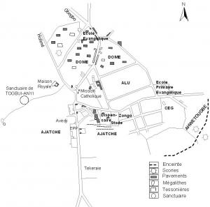 Schéma des sites archéologiques mis en chaantier dans l'ancien royaume de Tado