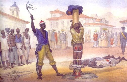 Flagellation publique d'un esclave noir au Brésil dans les années 1830
