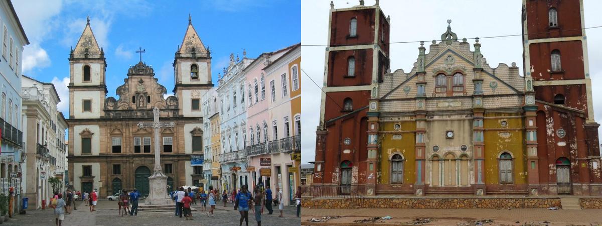 Une église de Bahia et la grande mosquée de Porto Novo