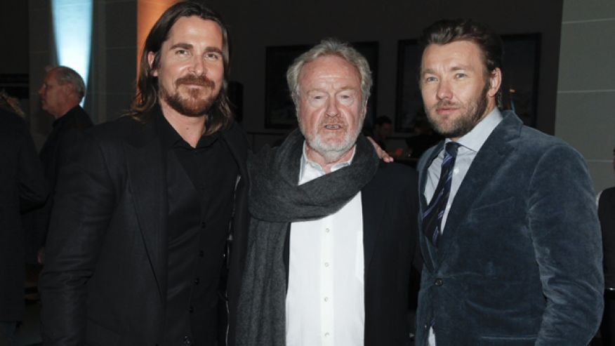 Christian Bale, Ridley Scott & Joel Edgerton (photo par Photo Andy Kropa/Invision/AP)