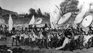 Le roi Kpengla de Dahomey (à droite) et son armée