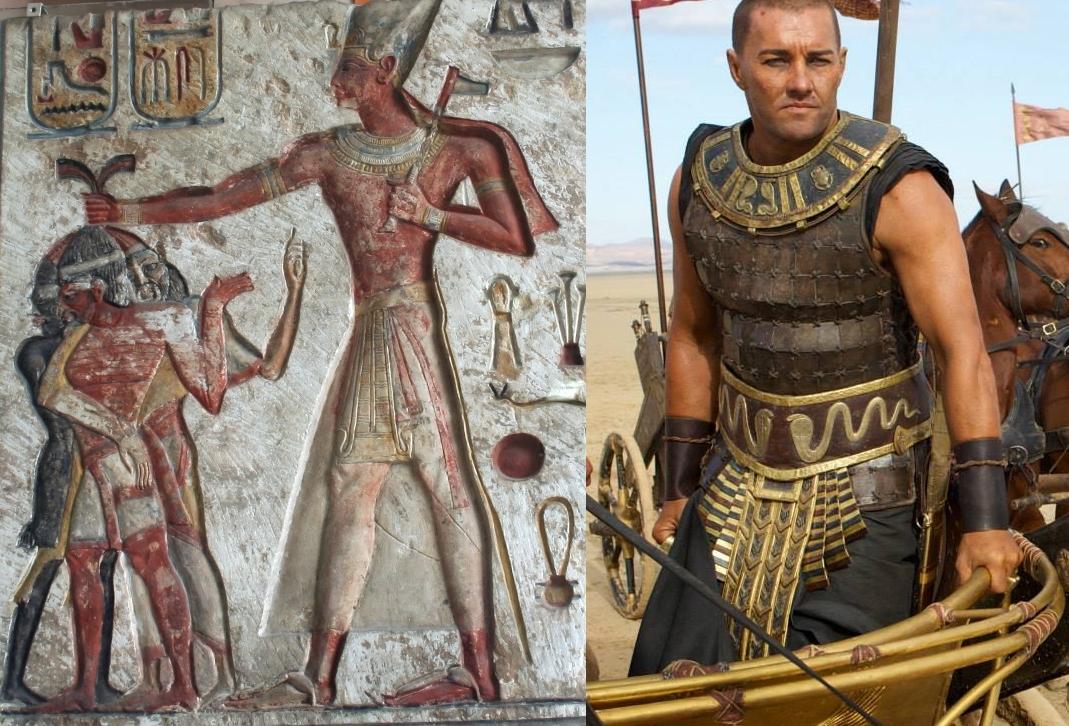 Ramses II frappant des ennemis étrangers. Il a le teint moins foncé que le Subsaharien à l'extrême gauche mais un teint que Joel Edgerton (à droite) dans ses rêves d'UV les plus fous n'aura jamais