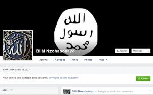 Capture d'écran de la page facebook de  Bilâl Nzohabonayo montrant en couverture le Drapeau de l'Etat Islamique au Levant