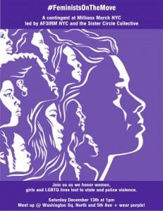Affiche de la manifestation #Feministonthemove organisée lors de la One Million March