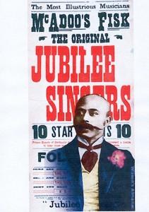 Affiche des Jubilee Singers avec un portrait d'Orpheus McAdoo