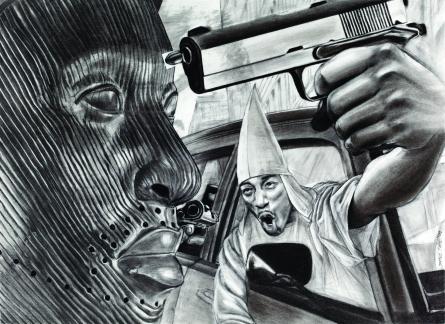 Une peinture de la série KKK (Kin Killin Kin / frères tuant leurs frères)  de James Pate où il comparaît les capuches de jeunes criminels noirs à celle du Ku Klux Klan étaient-elles prémonitoires pour l'Oklahoma?