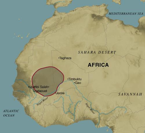 Carte de Ghana à son extension maximale (crédit: metmuseum)