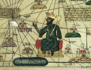 Moussa représenté sur une carte du monde par le Catalan Abraham Cresques de Majorque