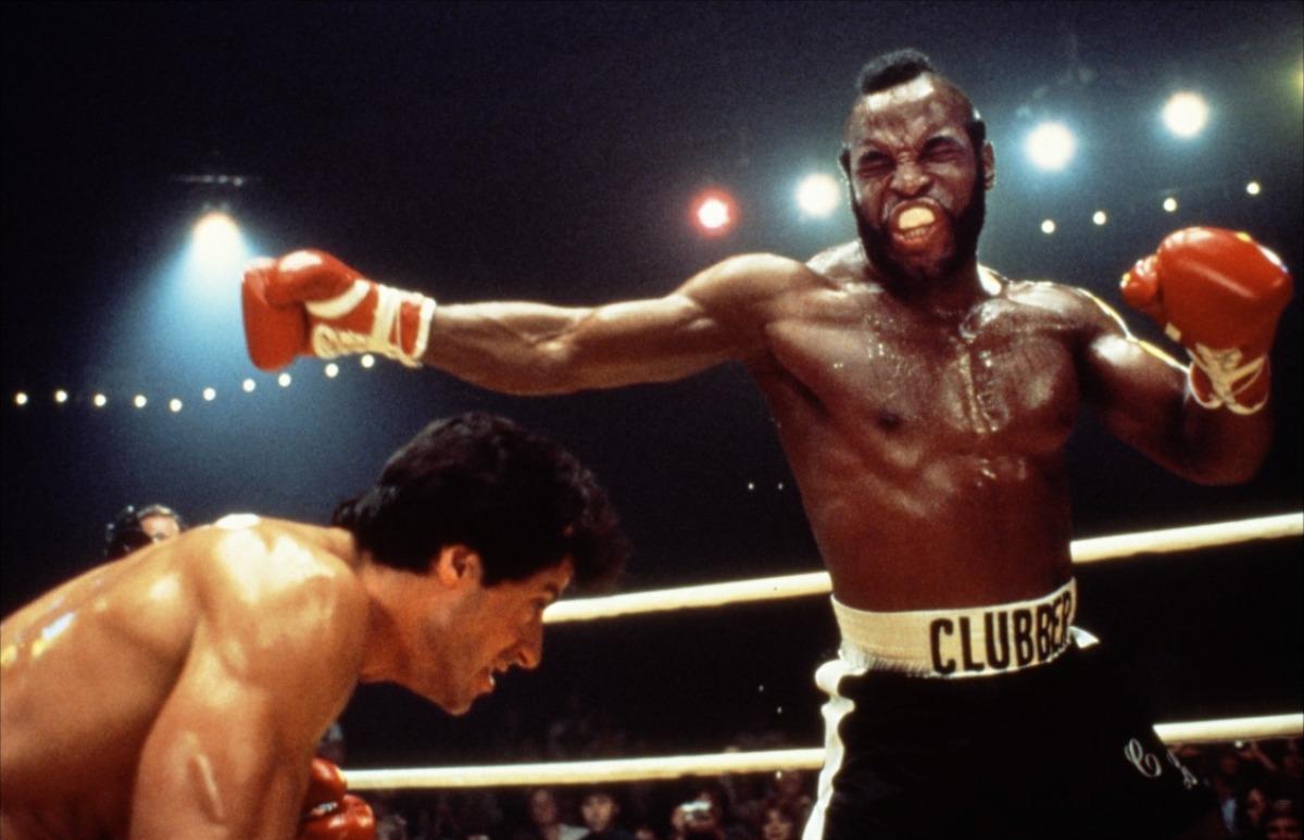 Clubber Lang (Mr. T) dans Rocky III (1982), le prototype de la brute noire animale et  sexuellement menaçante