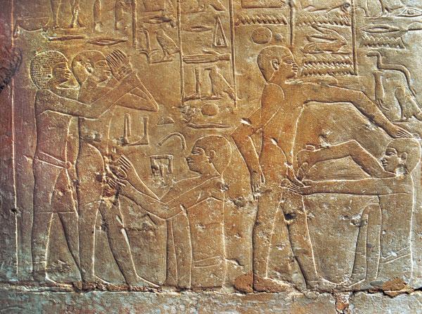 Scène de circoncision au 3ème millénaire avant notre ère en Egypte