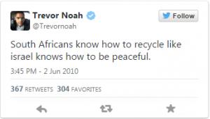 """""""Les Sud-Africains savent autant recycler qu'Israel sait être paisible."""