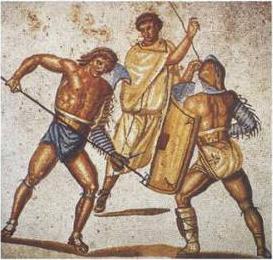 Mosaïque romaine montrant un rétiaire contre un secutor