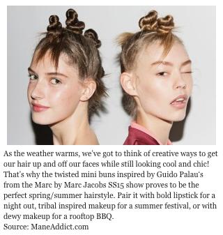 Alors que la température augmente, nous avons du penser à des façons créatives de garder vos cheveux en l'air et au dessus de vos visages. C'est pourquoi les mini-chignons enroulés inspirés par Guido Palau lors du défile de la collection Printemps-Eté 2015 de Marc by Marc Jacobs sera votre parfaite coupe de cheveux pour le printemps et l'été. Associez là avec un rouge à lèvres de soirée, un maquillage de style tribal  pour un festival d'été ou un maquillage humide pour un barbecue sur un toit.