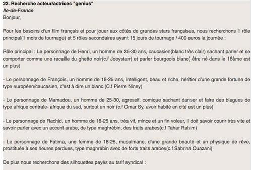 Cette affiche de casting mise en évidence il y a quelques mois dénonçait les stéréotypes grossiers auxquels sont très souvent confinées les minorités afro-maghrébines en France