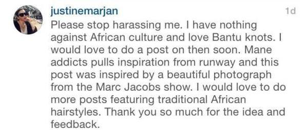 """""""Arrêtez de me harceler, s'il vous plaît. Je n'ai rien contre la culture africaine  et j'adore les Bantu Knots. J'adorerai écrire à leur sujet prochainement. Mae Addicts tire son inspiration des podiums et ce post a été inspiré par une magnifique photo d'un défilé de Marc Jacobs. J'adorerais faire plus d'articles sur les coiffures africaines traditionnelles. Merci beaucoup pour l'idée et pour vos retours."""