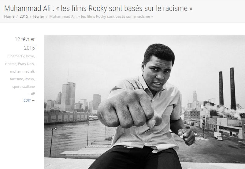 Si l'auteur de cet article l'avait titré 'Les films de Rocky sont basés sur le racisme', la rédaction de son journal aurait probablement été insultée et accuser de ne faire que se plaindre du racisme. Présenter la personnalité universellement respectée de Muhammad Ali comme l'auteur de la citation dans le titre a vraisemblablement empêché ces critiques.