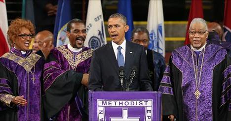 Etats-Unis : Barack Obama entonne «Amazing grace» à l'église de Charleston