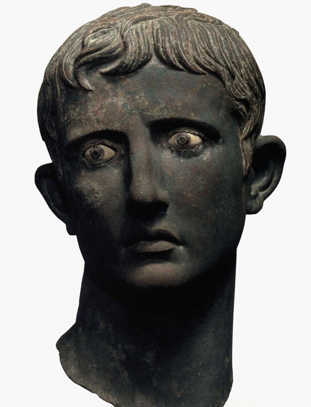 Tête d'Auguste trouvée à Méroé : elle fait probablement partie du butin rapporté lors du premier pillage du sud de l'Egypte