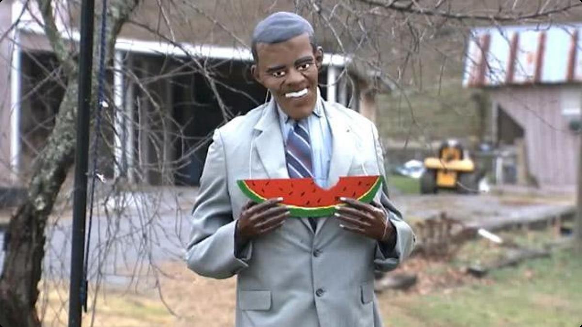 Mannequin représentant Barack Obama mamgeant une pastèque dans le Kentucky, 2014