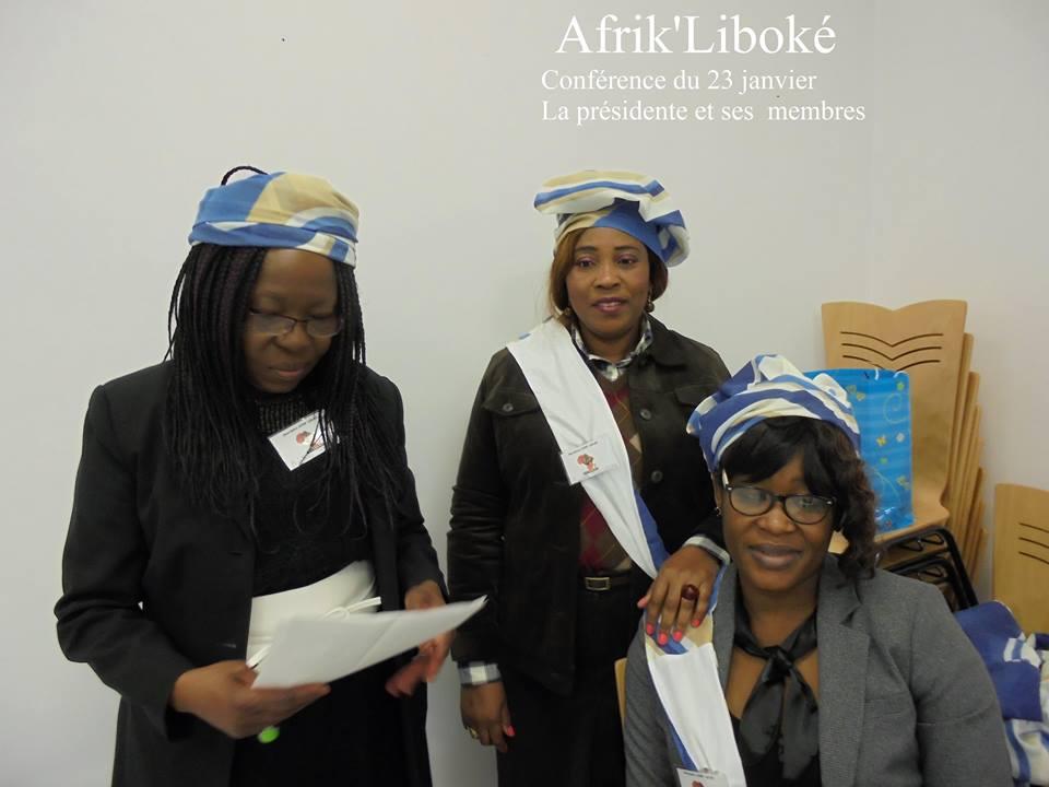 Béatrice Toungamani, présidente de l'association Afrik Liboké et deux de ses membres