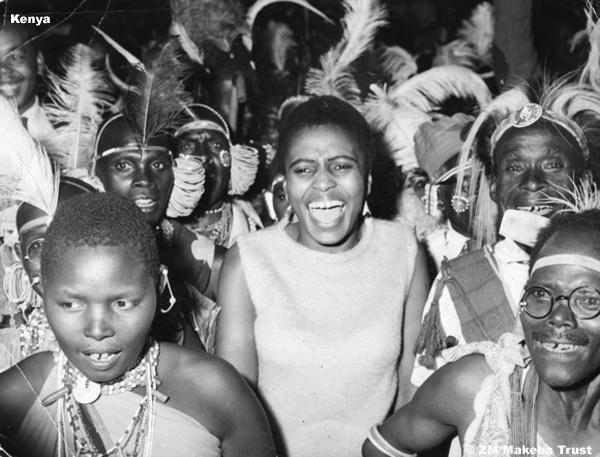 © BAHA Published in Drum EA Jan 1963 Miriam Makeba with Kikuyu people campaigning for Jomo Kenyatta 1962