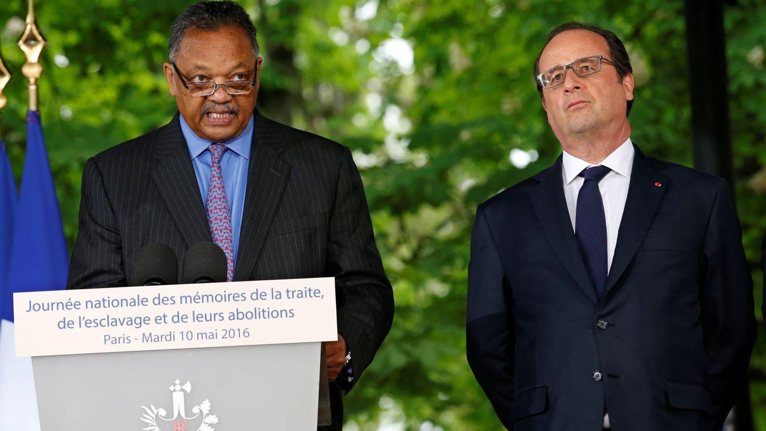 Reverend Jessie Jackson et François Hollande Crédit photo: l'express
