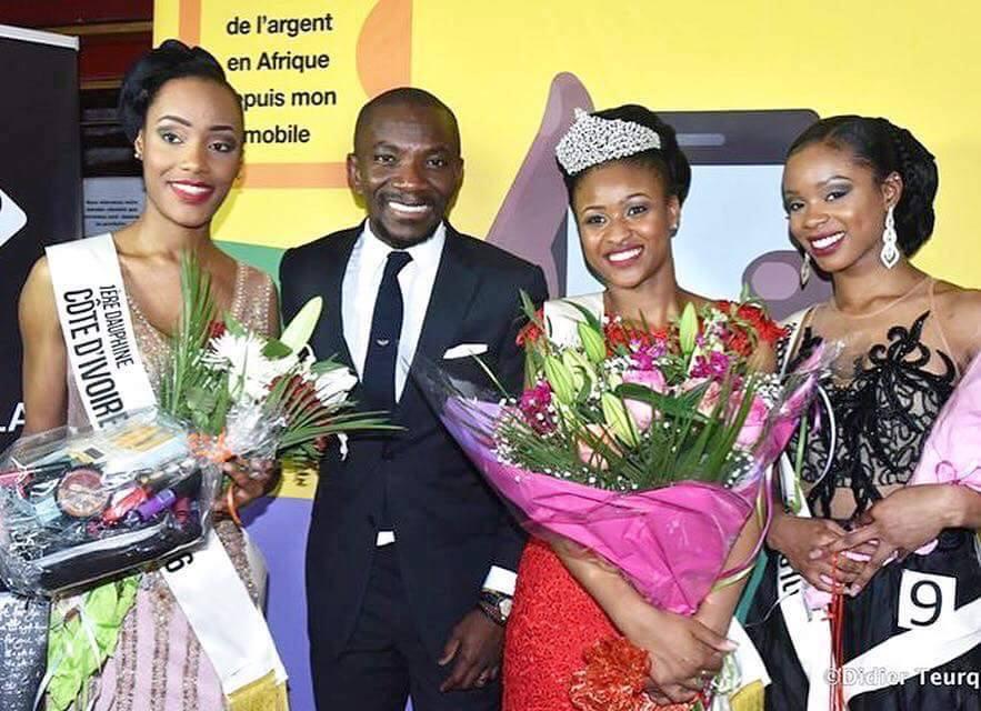 De gauche à droite: Sydney Djédjé, première dauphine; Bénito de Londres; Rokia Diallo, miss Côte d'Ivoire France 2016; Océane Tapé, deuxième dauphine  Crédit photo: Didier Teurquetil