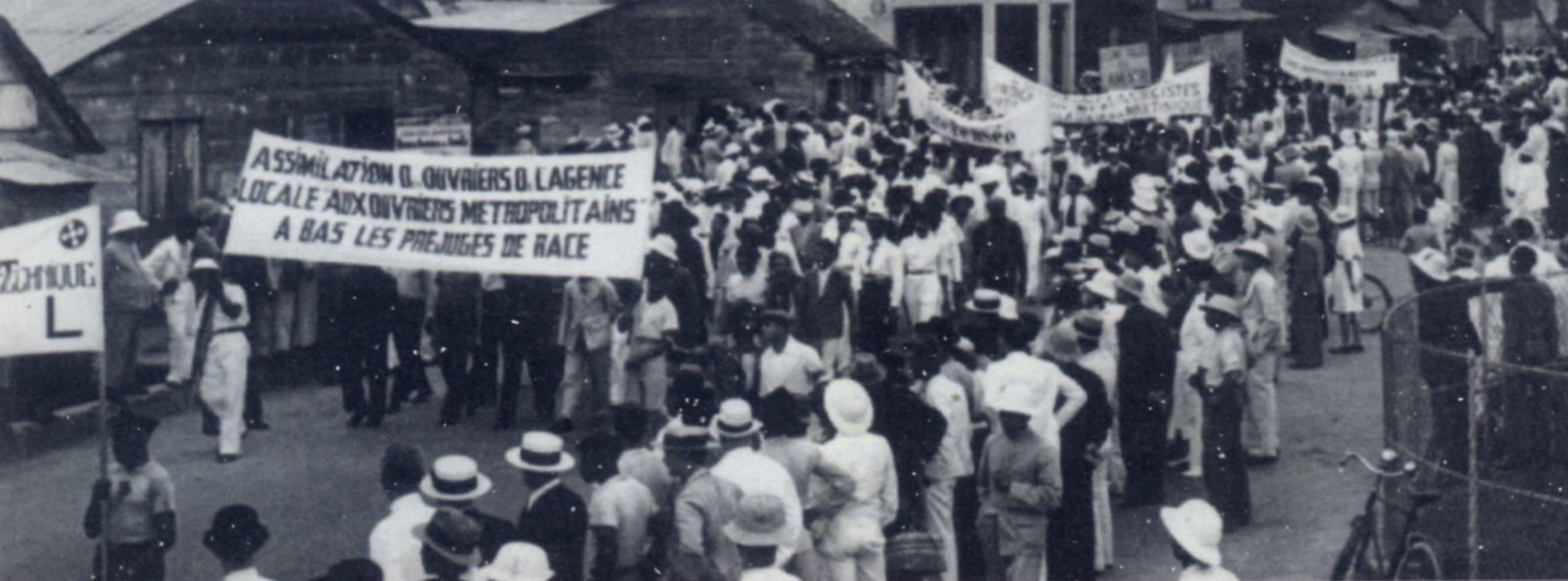 Manifestation à Fort-de-France (Martinique), 1948 Source: Atlas Caraïbes