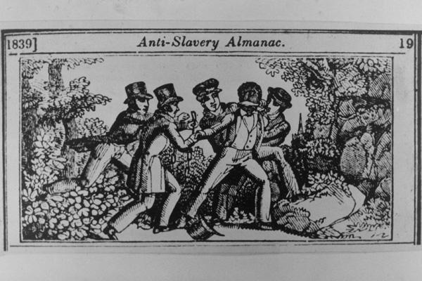 Gravure sur bois de l'Anti-Slavery Almanac (1839) représentant la capture d'un esclave fugitif par une Slave Patrol.