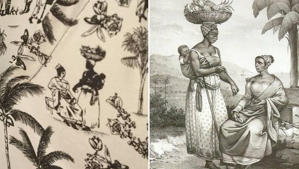 Comparaison du tissu incriminé et d'une oeuvre de Debret