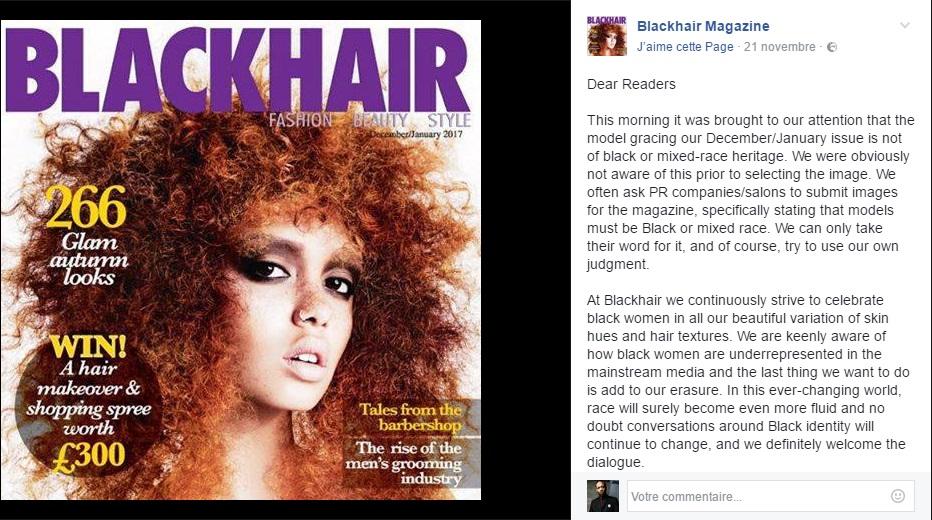 """Déclaration publiée sur le Facebook de """"Blackhair"""" par son éditrice Keysha Davis"""
