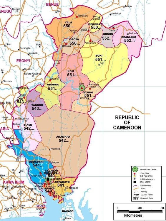 Plan de l'état de Cross River, Nigéria, où est particulièrement diffusé le Nsibidi
