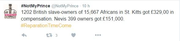 1202 britanniques propriétaire de 15 667 esclaves africains à Saint-Kitts ont obtenu £ 329,00 en compensation. Nevis 399 propriétaires ont £ 151 000.