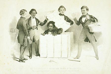 La Résurrection d'Henry Box Brown à Philadelphie. Lithographie de Samuel Rowse publiée en 1850
