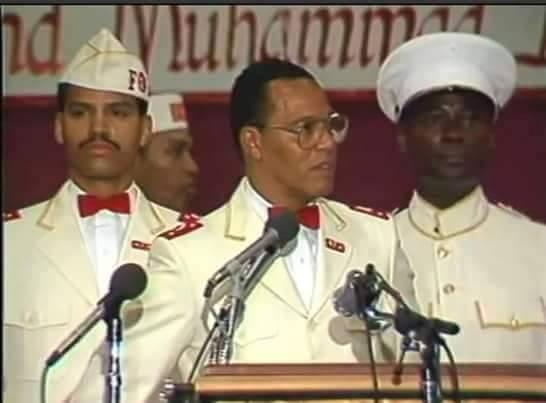 """Khalid Abdul Muhammad alors """"Supreme Captain"""" de la Nation of Islam et principal conseillé de Louis Farrakhan."""