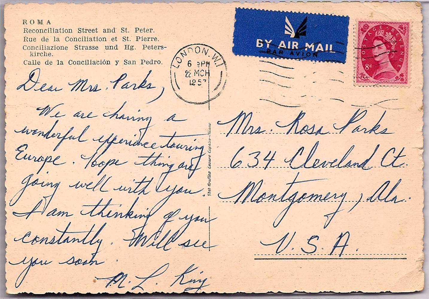 Carte postale de Martin Luther King Jr à Rosa Parks