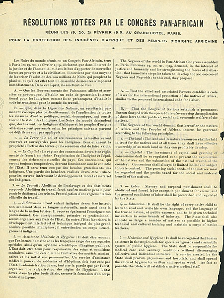 Résolutions (1ère page) établies par 15 pays lors du premier Congrès panafricain, Paris, février 1919.
