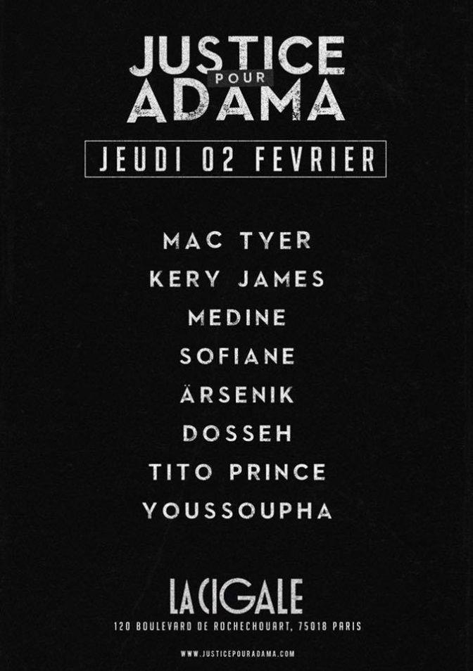 Justice pour Adama: les artistes mobilisés pour un concert caritatif