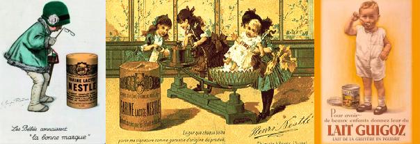 Affiches publicitaires des marques Nestlé et Guigoz du début du XXème siècle
