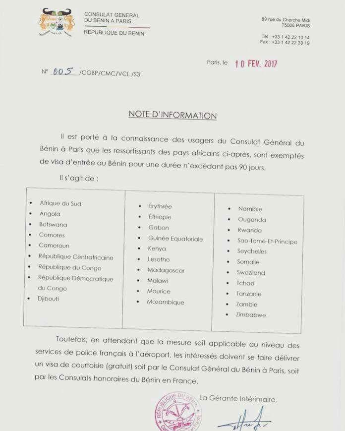 document du consulat général du Bénin à Paris Source : République du Bénin