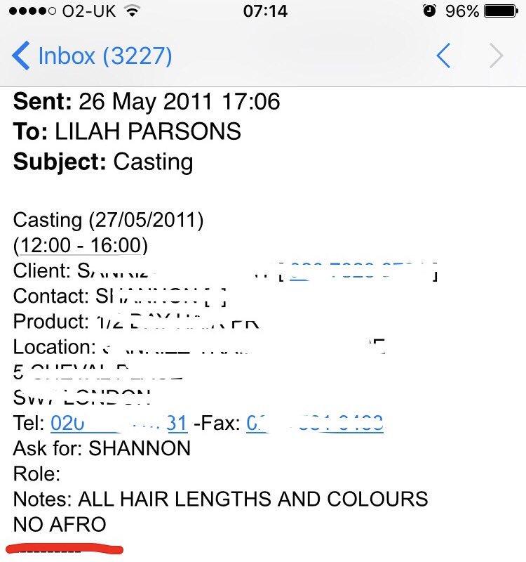 Note : Toutes les couleurs et longueurs de cheveux [sont les bienvenues]. Pas d'afros.