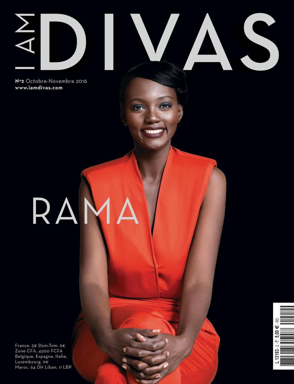 """Couverture du numéro 1 du magazine """"I am divas"""" avec Rama Yade Coiffure et maquillage by Nadeen Mateky"""