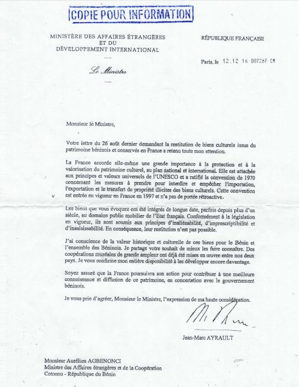 La lettre de la France au Bénin